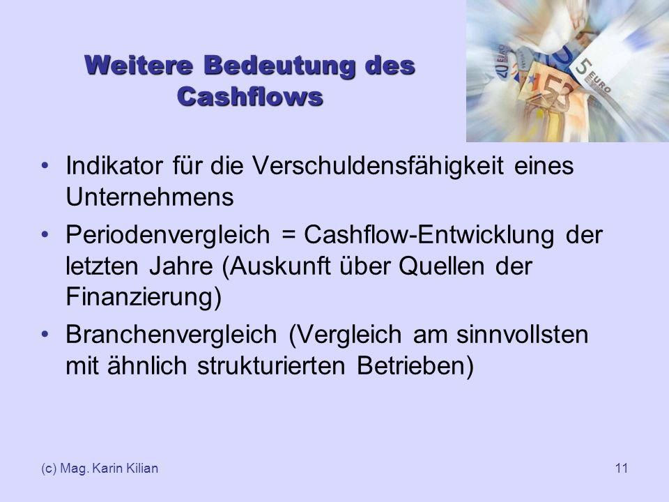 (c) Mag. Karin Kilian11 Weitere Bedeutung des Cashflows Indikator für die Verschuldensfähigkeit eines Unternehmens Periodenvergleich = Cashflow-Entwic