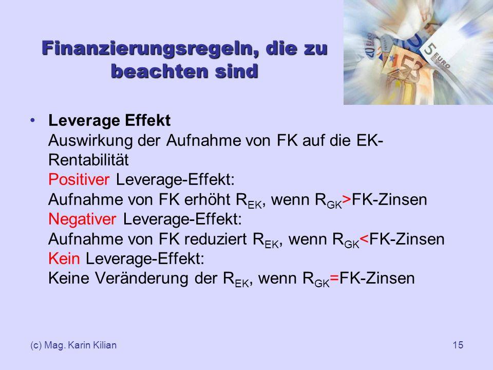 (c) Mag. Karin Kilian15 Finanzierungsregeln, die zu beachten sind Leverage Effekt Auswirkung der Aufnahme von FK auf die EK- Rentabilität Positiver Le