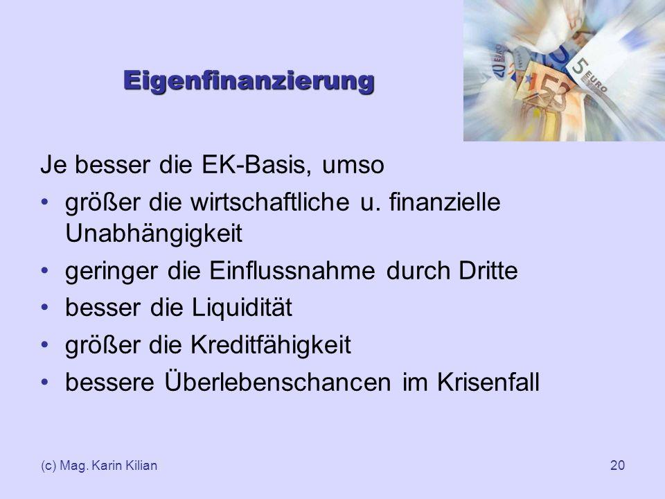 (c) Mag. Karin Kilian20 Eigenfinanzierung Je besser die EK-Basis, umso größer die wirtschaftliche u. finanzielle Unabhängigkeit geringer die Einflussn