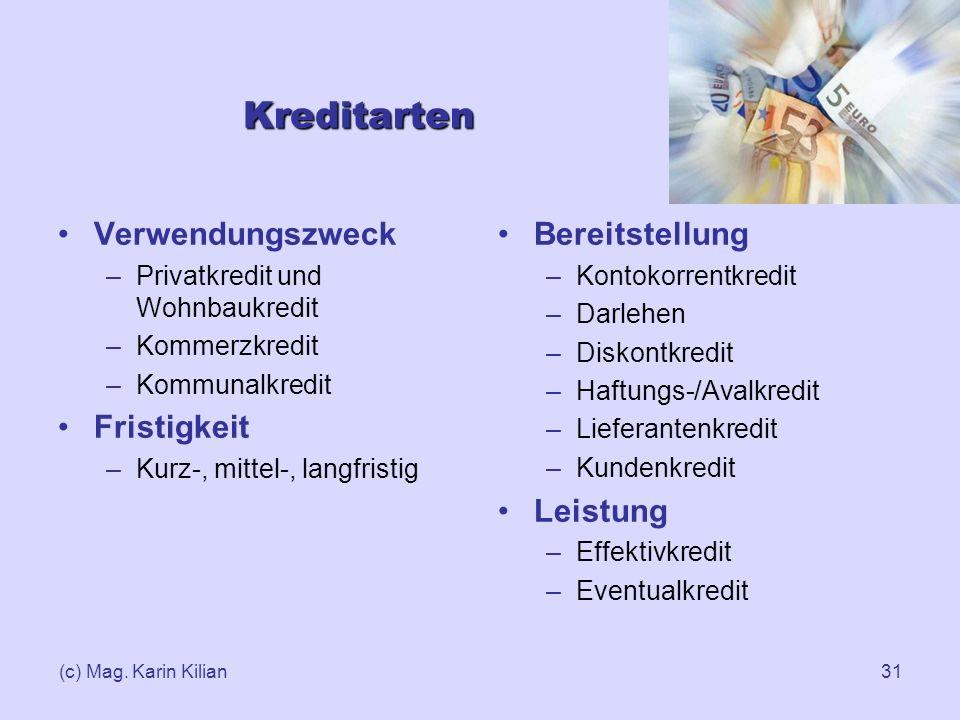 (c) Mag. Karin Kilian31 Kreditarten Verwendungszweck –Privatkredit und Wohnbaukredit –Kommerzkredit –Kommunalkredit Fristigkeit –Kurz-, mittel-, langf