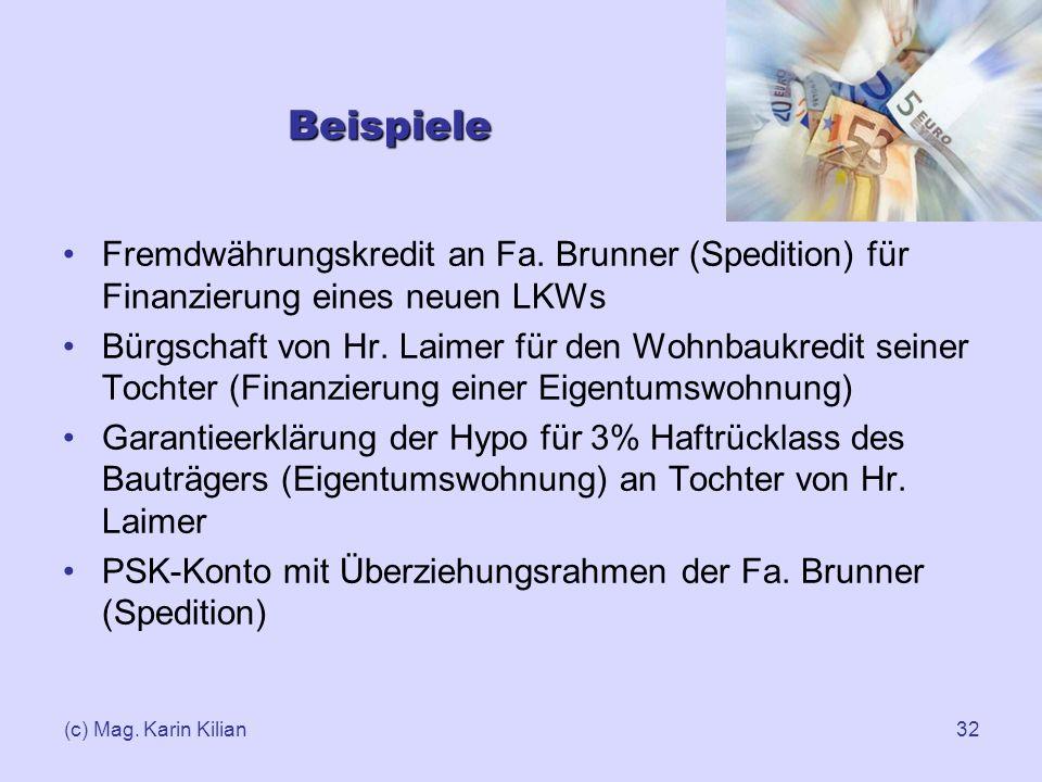 (c) Mag. Karin Kilian32 Beispiele Fremdwährungskredit an Fa. Brunner (Spedition) für Finanzierung eines neuen LKWs Bürgschaft von Hr. Laimer für den W