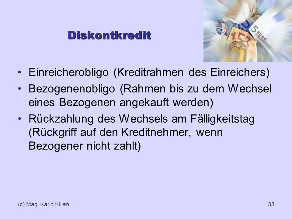 (c) Mag. Karin Kilian38 Diskontkredit Einreicherobligo (Kreditrahmen des Einreichers) Bezogenenobligo (Rahmen bis zu dem Wechsel eines Bezogenen angek