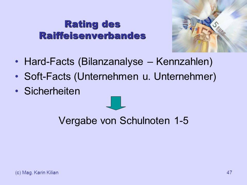 (c) Mag. Karin Kilian47 Rating des Raiffeisenverbandes Hard-Facts (Bilanzanalyse – Kennzahlen) Soft-Facts (Unternehmen u. Unternehmer) Sicherheiten Ve