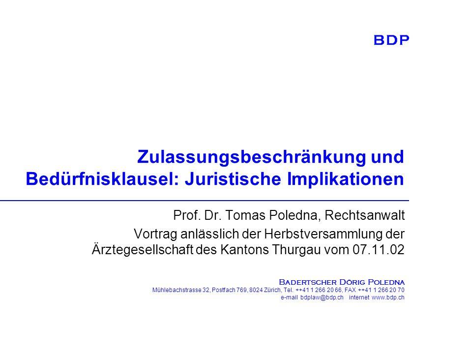 B ADERTSCHER D ÖRIG P OLEDNA Mühlebachstrasse 32, Postfach 769, 8024 Zürich, Tel. ++41 1 266 20 66, FAX ++41 1 266 20 70 e-mail bdplaw@bdp.ch internet