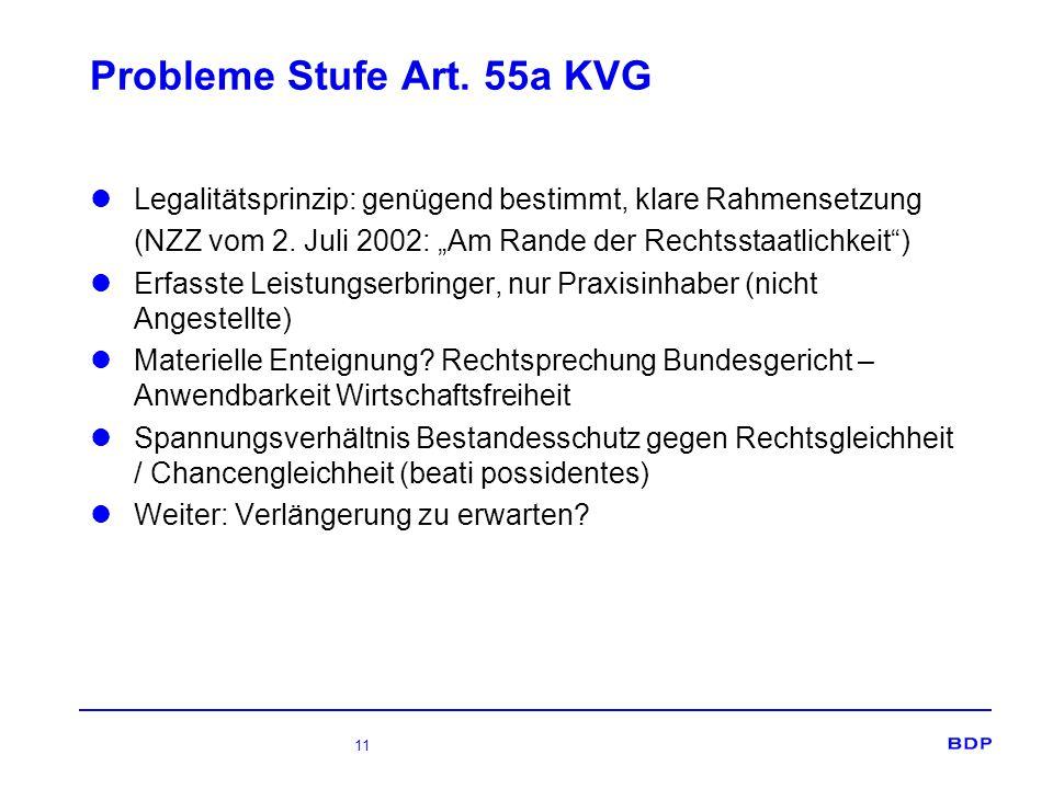 11 Probleme Stufe Art. 55a KVG Legalitätsprinzip: genügend bestimmt, klare Rahmensetzung (NZZ vom 2. Juli 2002: Am Rande der Rechtsstaatlichkeit) Erfa