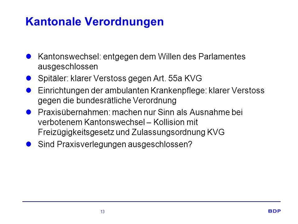 13 Kantonale Verordnungen Kantonswechsel: entgegen dem Willen des Parlamentes ausgeschlossen Spitäler: klarer Verstoss gegen Art. 55a KVG Einrichtunge