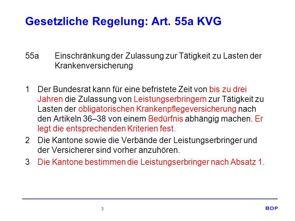 3 Gesetzliche Regelung: Art. 55a KVG 55aEinschränkung der Zulassung zur Tätigkeit zu Lasten der Krankenversicherung 1 Der Bundesrat kann für eine befr