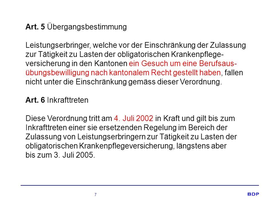 8 Kantonale Regelung – Basis Ostschweizer SDK Geltung für alle Ärzte/Ärztinnen ungeachtet ihrer Fachausrichtung und Spezialisierung Keine Geltung für die übrigen in der Bundesverordnung genannten Berufe Grundsatz: absoluter Zulassungsstopp, inkl.