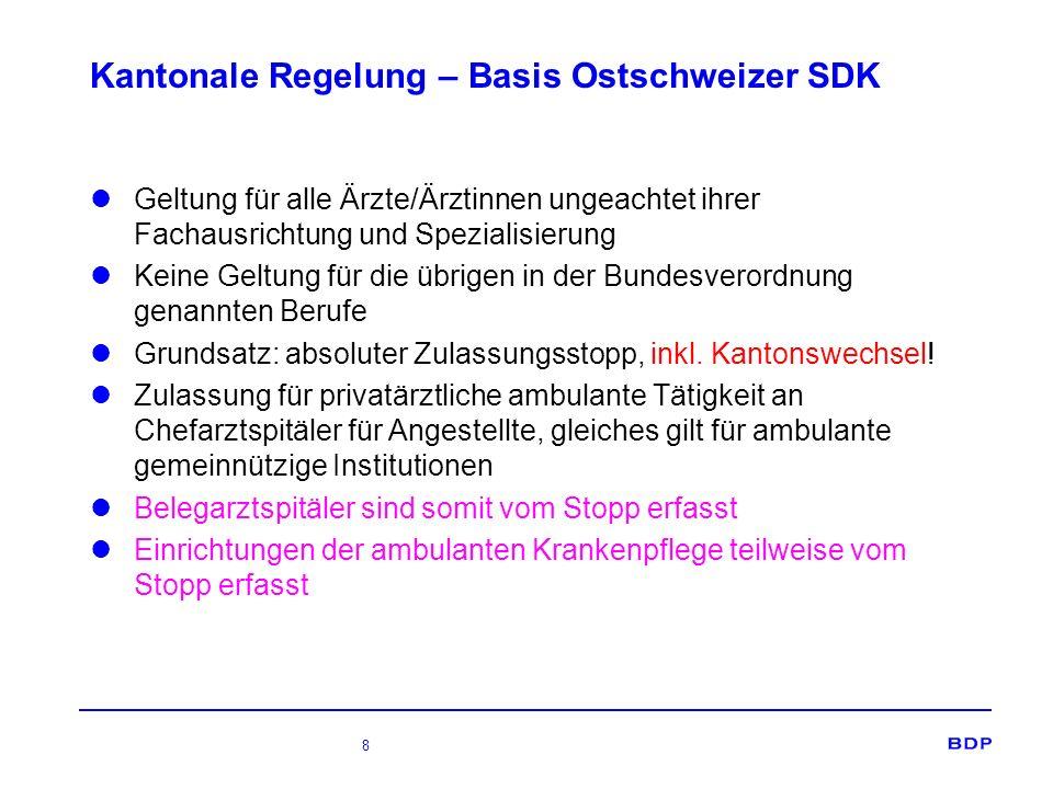 8 Kantonale Regelung – Basis Ostschweizer SDK Geltung für alle Ärzte/Ärztinnen ungeachtet ihrer Fachausrichtung und Spezialisierung Keine Geltung für