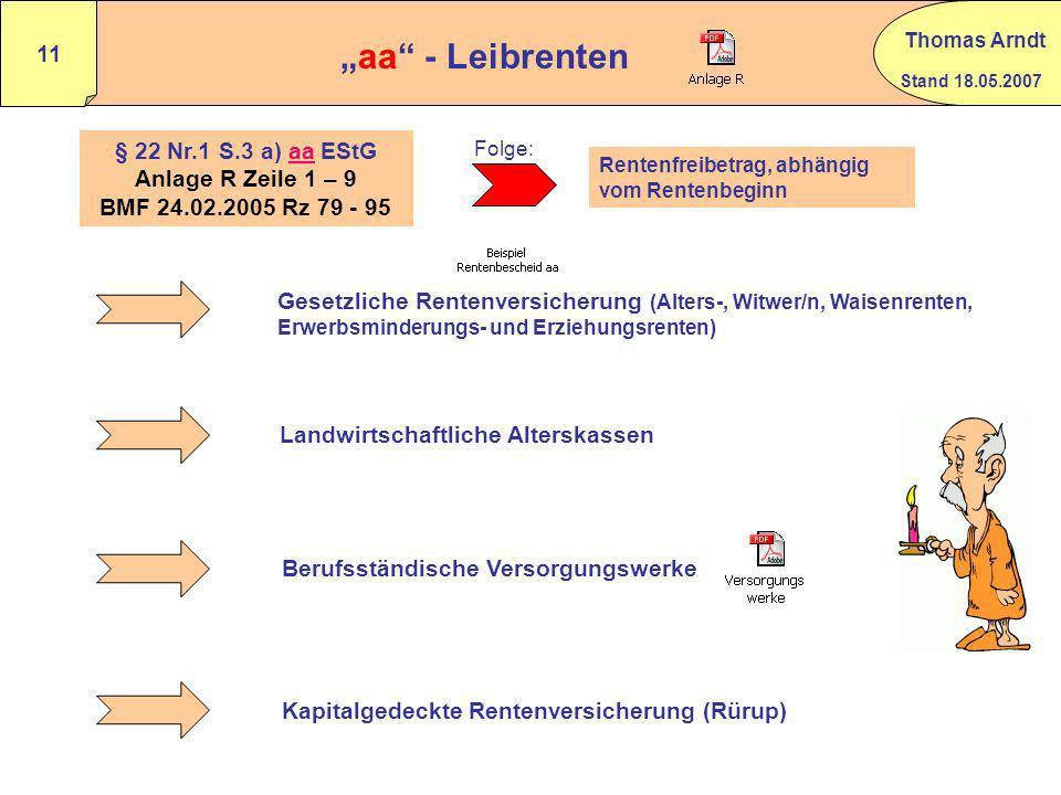 Stand 18.05.2007 Thomas Arndt 10 Beispiel Hinterbliebenenversorgung BMF vom 24.02.2005 Rz 73 Ehemann verstirbt im April 2007. Er erhielt seit 2004 Ver