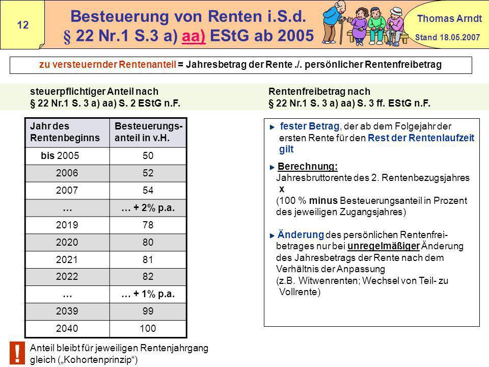 Stand 18.05.2007 Thomas Arndt 11 aa - Leibrenten § 22 Nr.1 S.3 a) aa EStG Anlage R Zeile 1 – 9 BMF 24.02.2005 Rz 79 - 95 Kapitalgedeckte Rentenversich