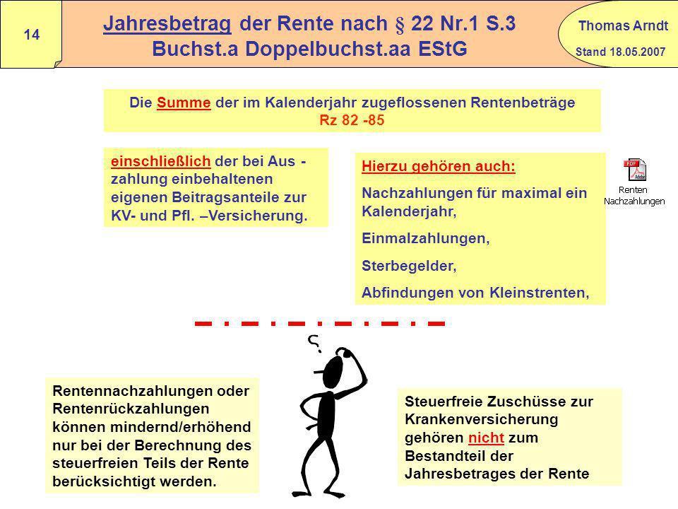 Stand 18.05.2007 Thomas Arndt 13 Beispiel (regelmäßige Rentenanpassung) Drastisches (unrealistisches) Beispiel zur Verdeutlichung des Problems: (regel