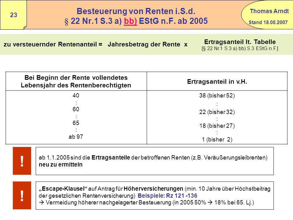 Stand 18.05.2007 Thomas Arndt 22 bb - Leibrenten § 22 Nr.1 S.3 a) bb EStG Anlage R Zeile 12 – 20 BMF 24.02.2005 Rz 96 - 98 Öffnungs-Klausel Fälle (übe