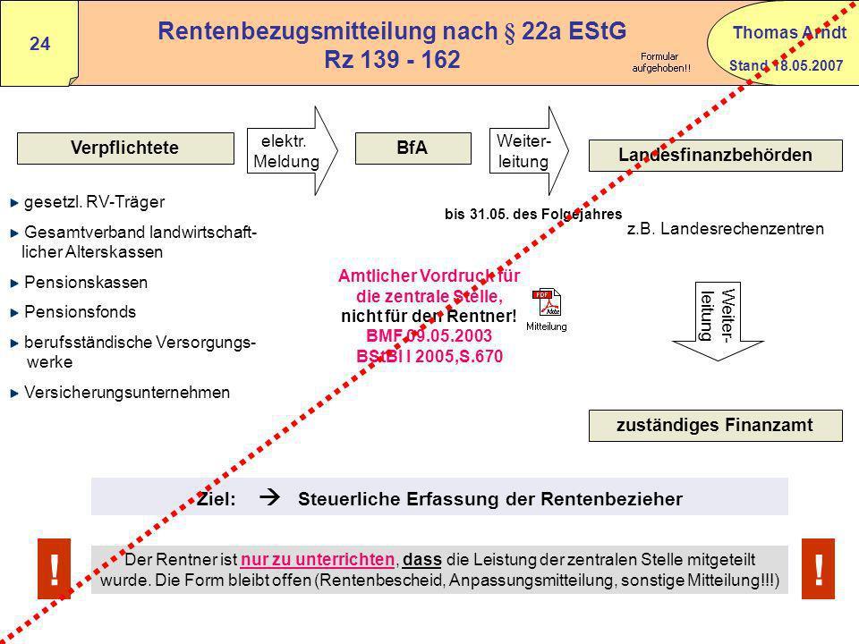 Stand 18.05.2007 Thomas Arndt 23 Besteuerung von Renten i.S.d. § 22 Nr.1 S.3 a) bb) EStG n.F. ab 2005 zu versteuernder Rentenanteil=xJahresbetrag der