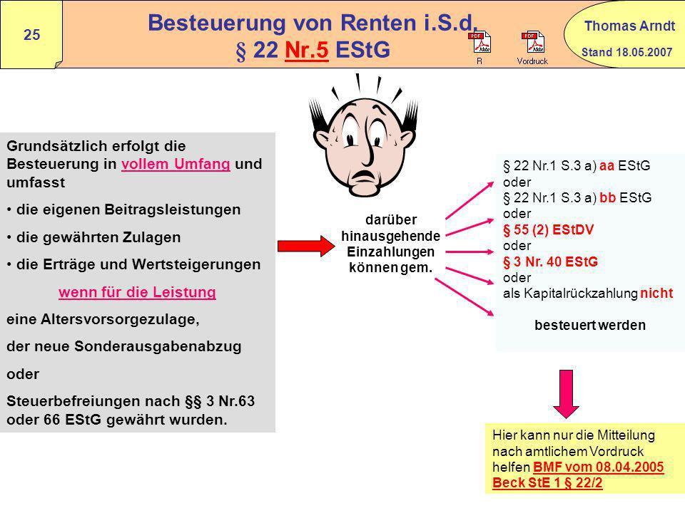 Stand 18.05.2007 Thomas Arndt 24 Rentenbezugsmitteilung nach § 22a EStG Rz 139 - 162 VerpflichteteBfA Landesfinanzbehörden gesetzl. RV-Träger Gesamtve