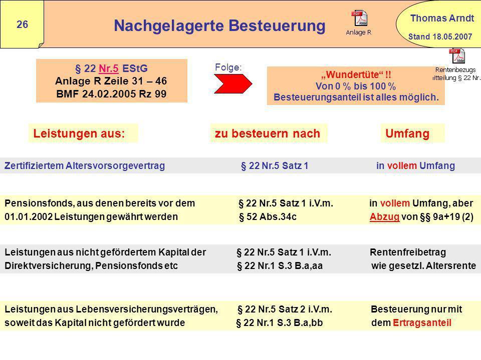 Stand 18.05.2007 Thomas Arndt 25 Besteuerung von Renten i.S.d. § 22 Nr.5 EStG Grundsätzlich erfolgt die Besteuerung in vollem Umfang und umfasst die e