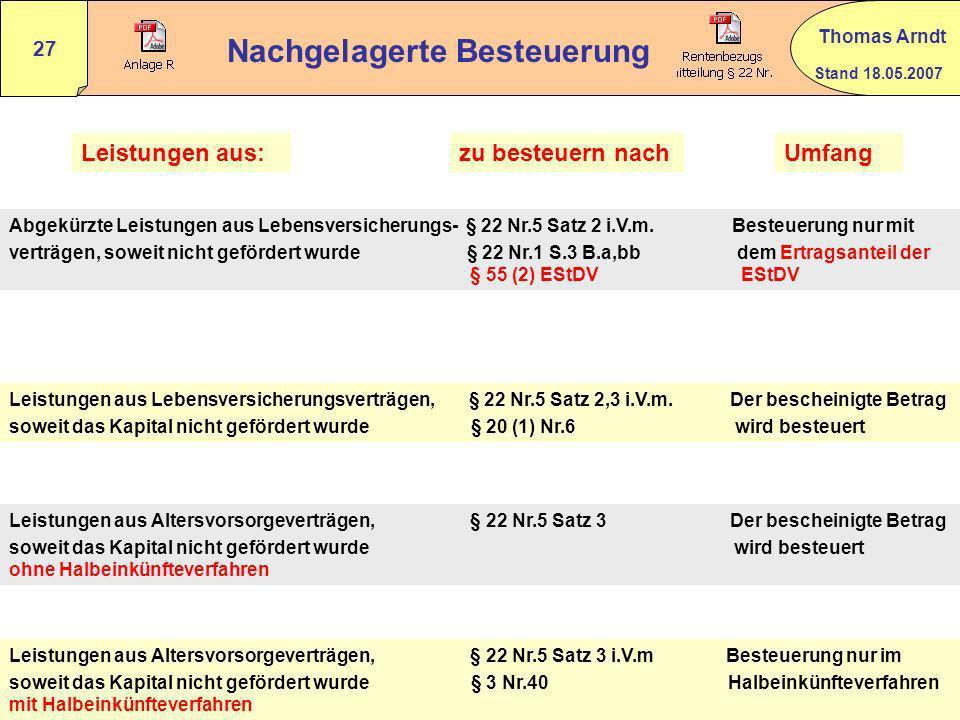 Stand 18.05.2007 Thomas Arndt 26 Nachgelagerte Besteuerung § 22 Nr.5 EStG Anlage R Zeile 31 – 46 BMF 24.02.2005 Rz 99 Wundertüte !! Von 0 % bis 100 %