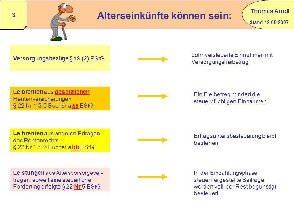 Stand 18.05.2007 Thomas Arndt 2 Alterseinkünfte Besteuerung von Versorgungsbezügen gem. § 19 (2) EStG BMF 24.02.2005 IV C – S 2255 - 51/05 Rz 59 – 79