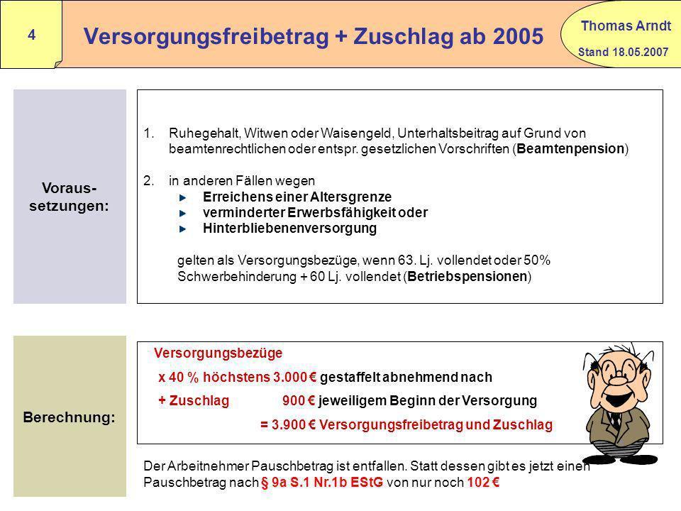Stand 18.05.2007 Thomas Arndt 3 Alterseinkünfte können sein: Versorgungsbezüge § 19 (2) EStG Leibrenten aus gesetzlichen Rentenversicherungen § 22 Nr.
