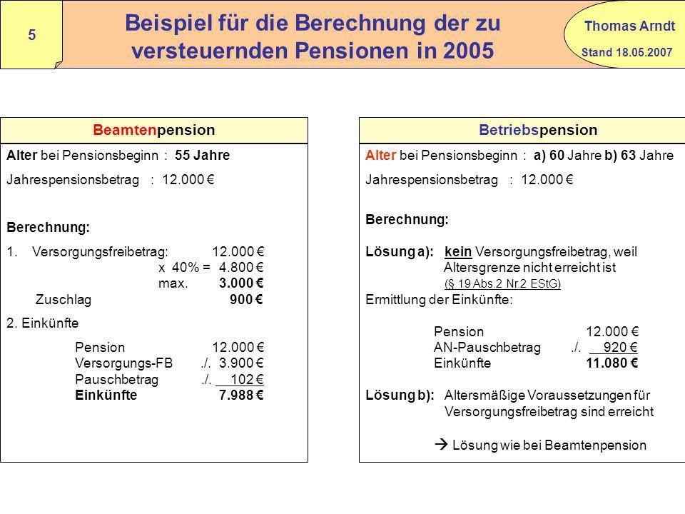 Stand 18.05.2007 Thomas Arndt 4 Versorgungsfreibetrag + Zuschlag ab 2005 Berechnung: Versorgungsbezüge x 40 % höchstens 3.000 gestaffelt abnehmend nac