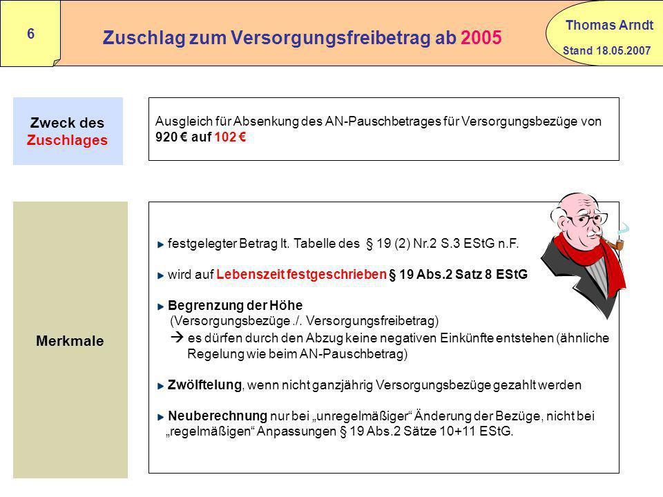 Stand 18.05.2007 Thomas Arndt 5 Beispiel für die Berechnung der zu versteuernden Pensionen in 2005 Alter bei Pensionsbeginn : 55 Jahre Jahrespensionsb
