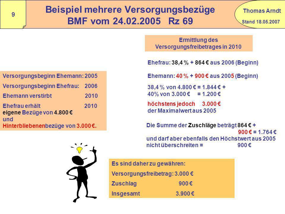 Stand 18.05.2007 Thomas Arndt 8 Besonderheiten zum Versorgungs- freibetrag und zum Zuschlag Wann erfolgt eine Neuberechnung des Freibetrages und des Z