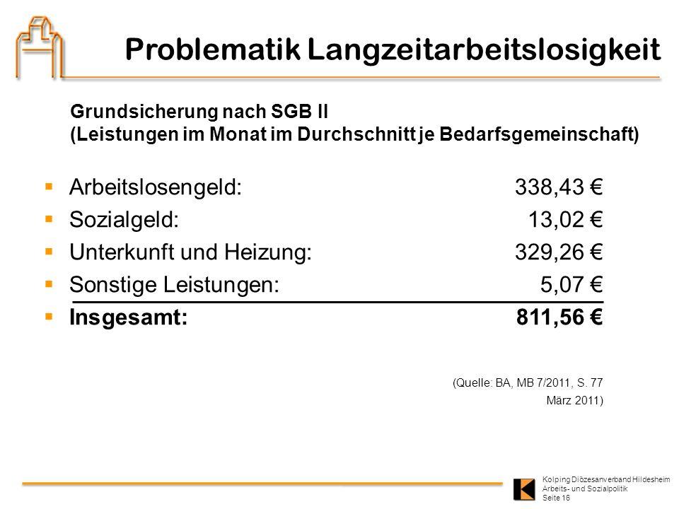 Kolping Diözesanverband Hildesheim Arbeits- und Sozialpolitik Seite 16 Problematik Langzeitarbeitslosigkeit Grundsicherung nach SGB II (Leistungen im