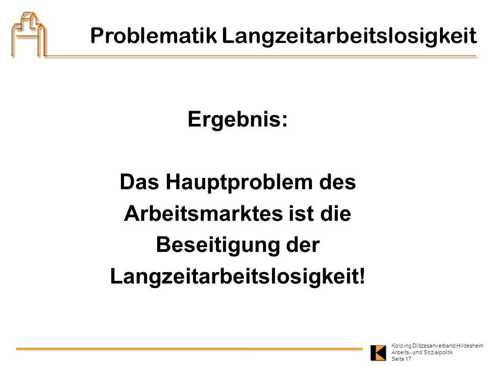 Kolping Diözesanverband Hildesheim Arbeits- und Sozialpolitik Seite 17 Problematik Langzeitarbeitslosigkeit Ergebnis: Das Hauptproblem des Arbeitsmark