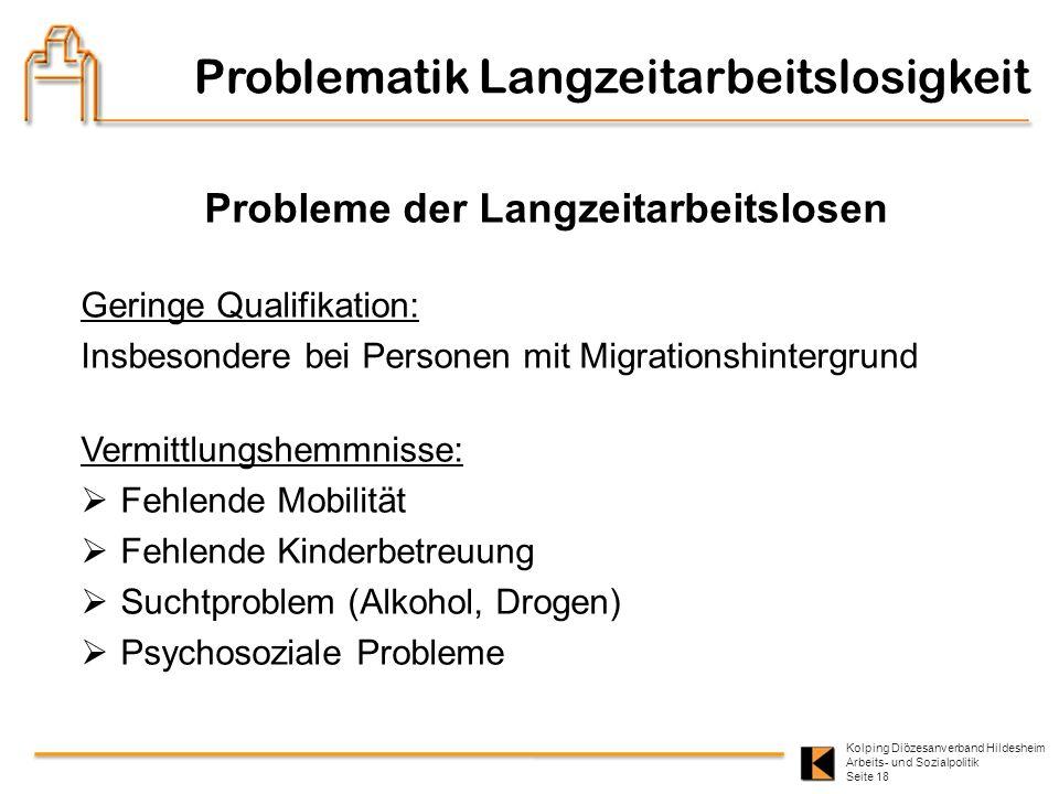 Kolping Diözesanverband Hildesheim Arbeits- und Sozialpolitik Seite 18 Probleme der Langzeitarbeitslosen Geringe Qualifikation: Insbesondere bei Perso