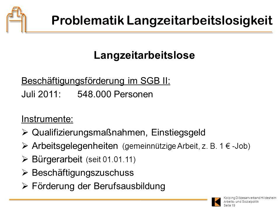 Kolping Diözesanverband Hildesheim Arbeits- und Sozialpolitik Seite 19 Langzeitarbeitslose Beschäftigungsförderung im SGB II: Juli 2011: 548.000 Perso