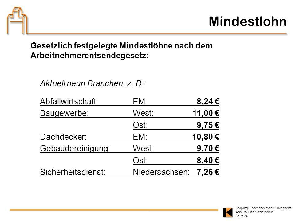 Kolping Diözesanverband Hildesheim Arbeits- und Sozialpolitik Seite 24 Mindestlohn Gesetzlich festgelegte Mindestlöhne nach dem Arbeitnehmerentsendege