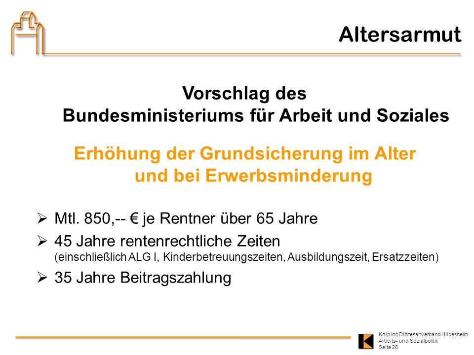 Kolping Diözesanverband Hildesheim Arbeits- und Sozialpolitik Seite 28 Vorschlag des Bundesministeriums für Arbeit und Soziales Erhöhung der Grundsich