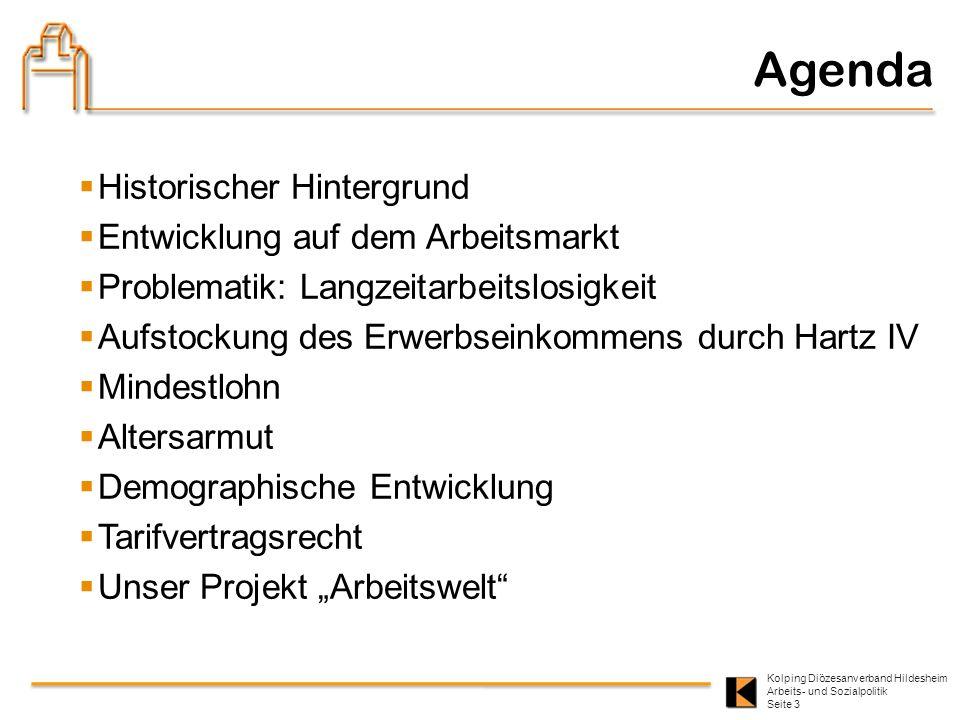 Kolping Diözesanverband Hildesheim Arbeits- und Sozialpolitik Seite 3 Agenda Historischer Hintergrund Entwicklung auf dem Arbeitsmarkt Problematik: La