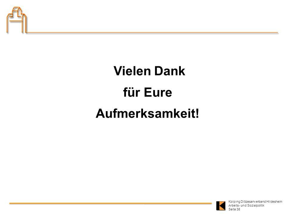Kolping Diözesanverband Hildesheim Arbeits- und Sozialpolitik Seite 38 Vielen Dank für Eure Aufmerksamkeit!