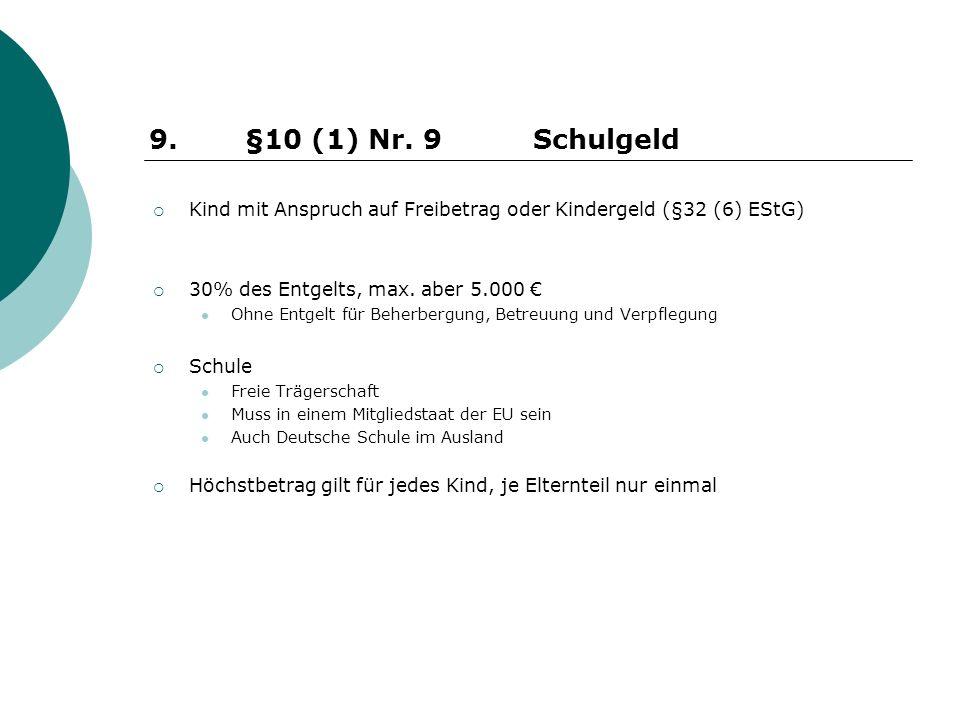 Kind mit Anspruch auf Freibetrag oder Kindergeld (§32 (6) EStG) 30% des Entgelts, max. aber 5.000 Ohne Entgelt für Beherbergung, Betreuung und Verpfle
