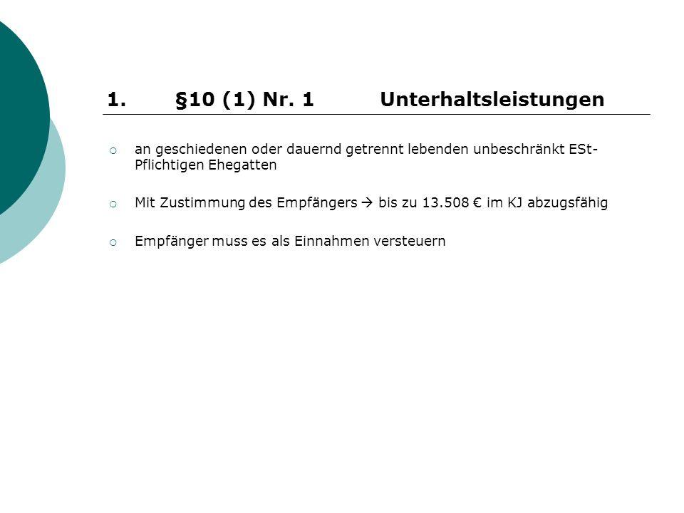 an geschiedenen oder dauernd getrennt lebenden unbeschränkt ESt- Pflichtigen Ehegatten Mit Zustimmung des Empfängers bis zu 13.508 im KJ abzugsfähig Empfänger muss es als Einnahmen versteuern 1.
