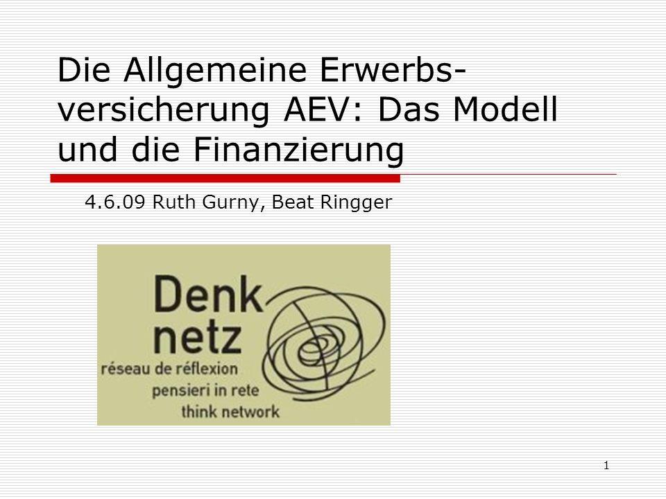 1 Die Allgemeine Erwerbs- versicherung AEV: Das Modell und die Finanzierung 4.6.09 Ruth Gurny, Beat Ringger
