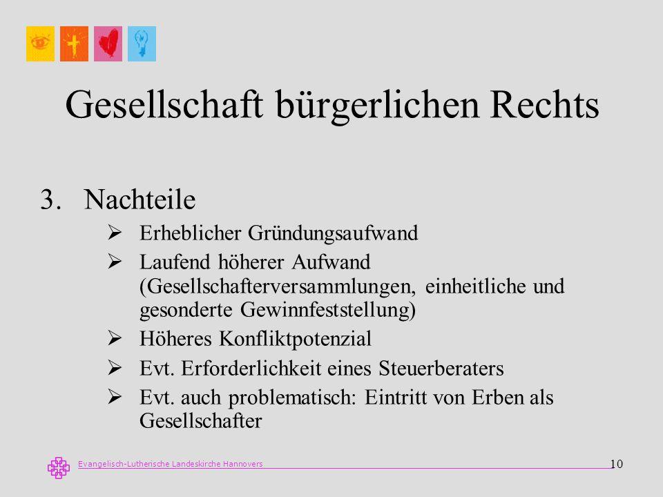 Evangelisch-Lutherische Landeskirche Hannovers 10 Gesellschaft bürgerlichen Rechts 3.Nachteile Erheblicher Gründungsaufwand Laufend höherer Aufwand (G