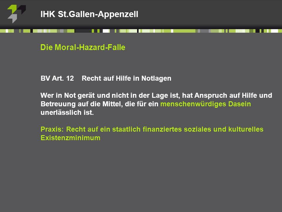 Die Moral-Hazard-Falle BV Art.