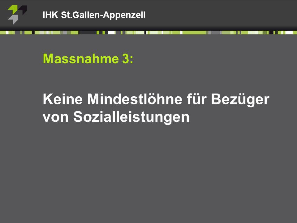 Massnahme 3: Keine Mindestlöhne für Bezüger von Sozialleistungen IHK St.Gallen-Appenzell