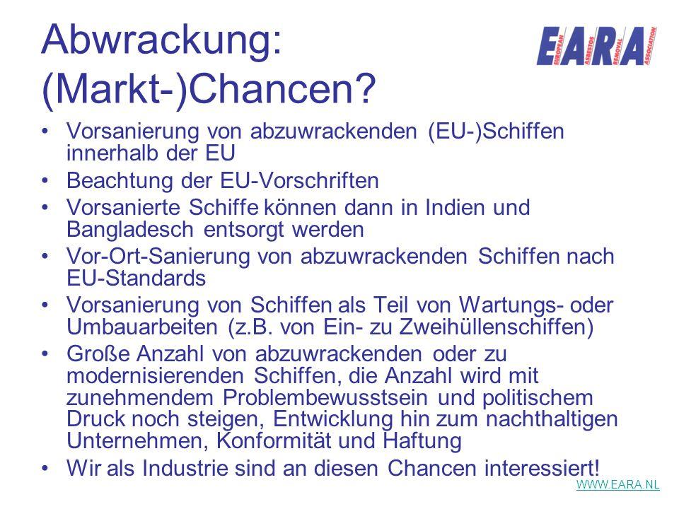 Abwrackung: (Markt-)Chancen? Vorsanierung von abzuwrackenden (EU-)Schiffen innerhalb der EU Beachtung der EU-Vorschriften Vorsanierte Schiffe können d