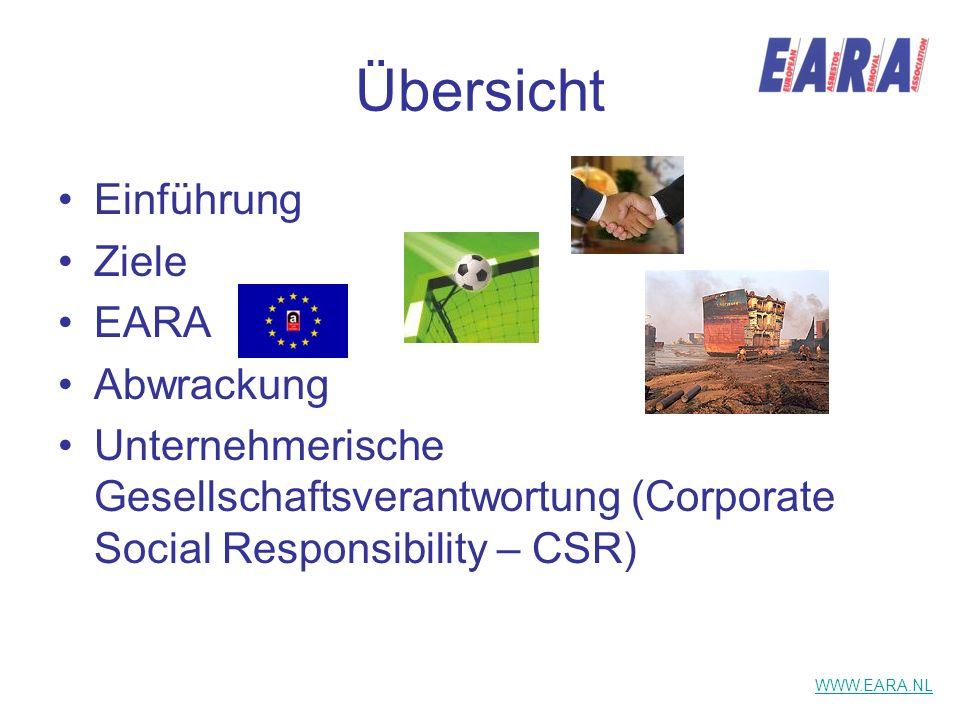 Übersicht Einführung Ziele EARA Abwrackung Unternehmerische Gesellschaftsverantwortung (Corporate Social Responsibility – CSR) WWW.EARA.NL