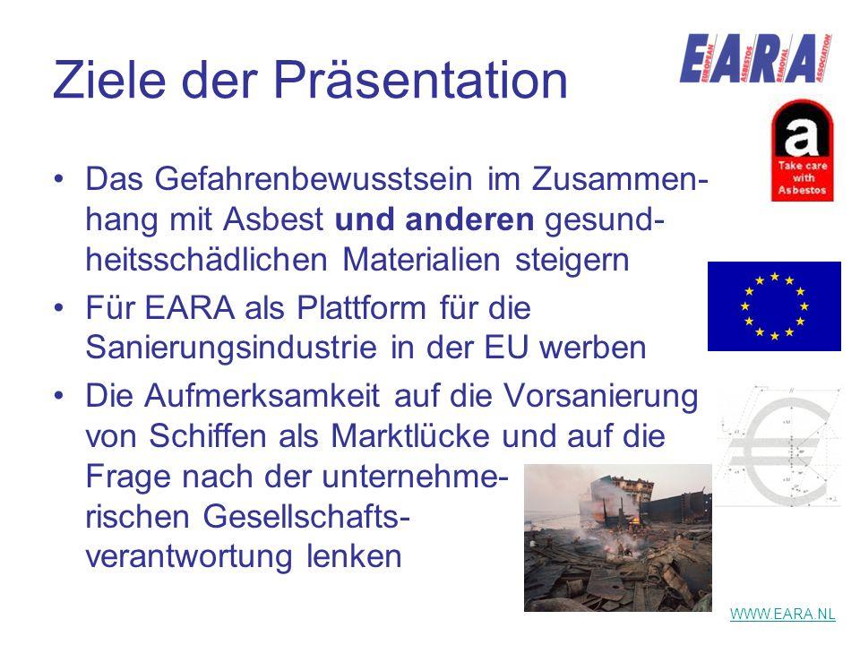 Ziele der Präsentation Das Gefahrenbewusstsein im Zusammen- hang mit Asbest und anderen gesund- heitsschädlichen Materialien steigern Für EARA als Pla