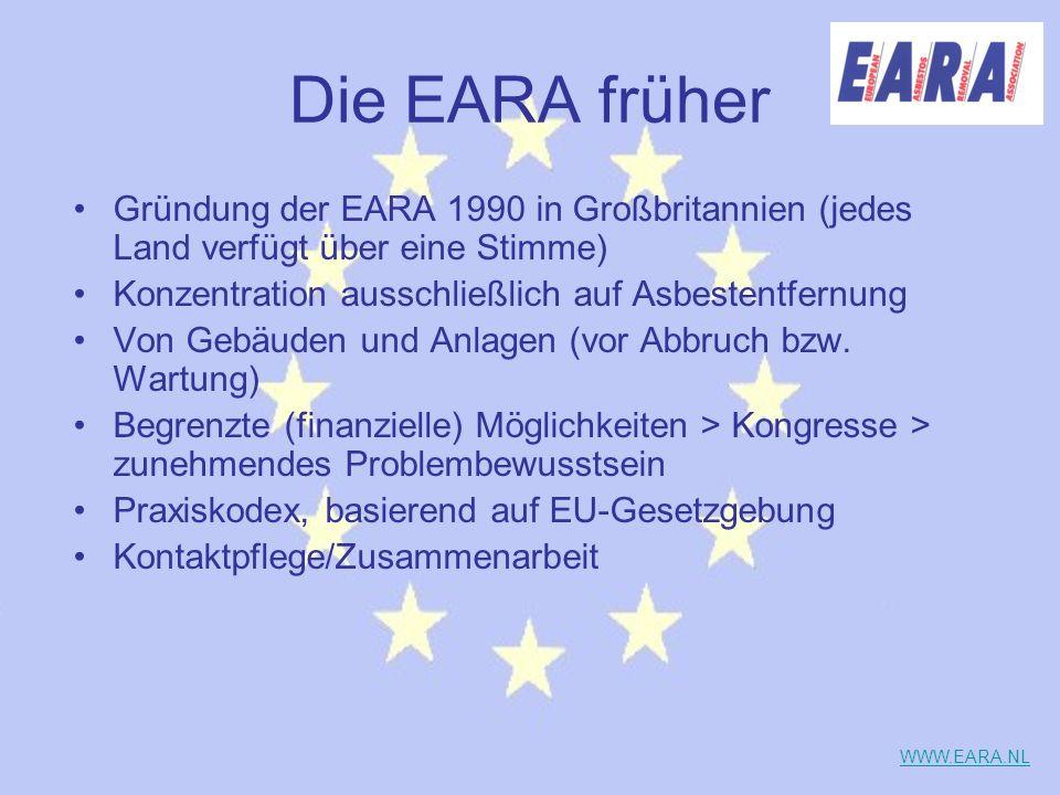 Die EARA früher Gründung der EARA 1990 in Großbritannien (jedes Land verfügt über eine Stimme) Konzentration ausschließlich auf Asbestentfernung Von G