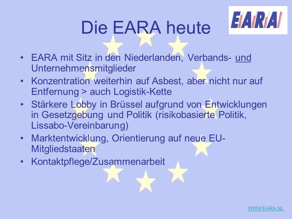 Die EARA heute EARA mit Sitz in den Niederlanden, Verbands- und Unternehmensmitglieder Konzentration weiterhin auf Asbest, aber nicht nur auf Entfernu