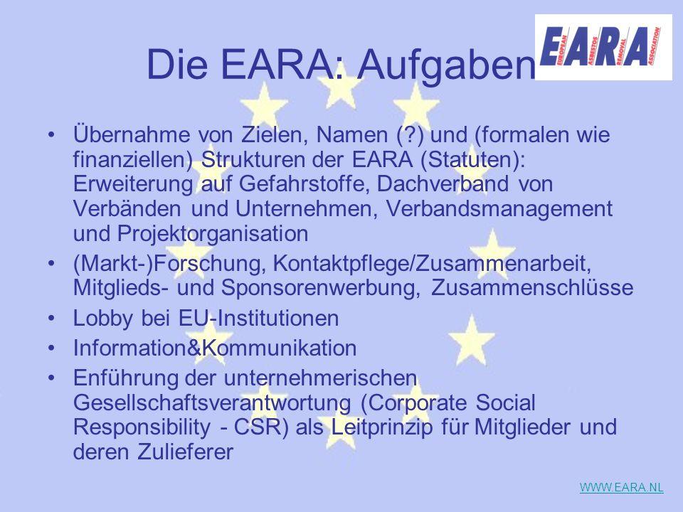 Die EARA: Aufgaben Übernahme von Zielen, Namen (?) und (formalen wie finanziellen) Strukturen der EARA (Statuten): Erweiterung auf Gefahrstoffe, Dachv