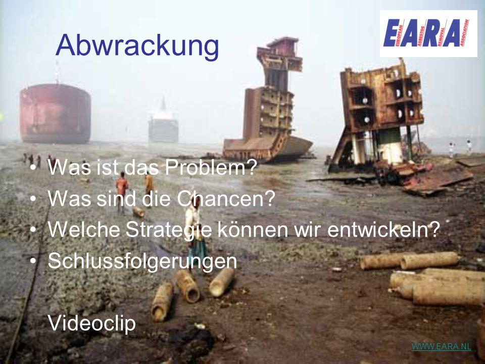 Abwrackung Was ist das Problem? Was sind die Chancen? Welche Strategie können wir entwickeln? Schlussfolgerungen Videoclip WWW.EARA.NL