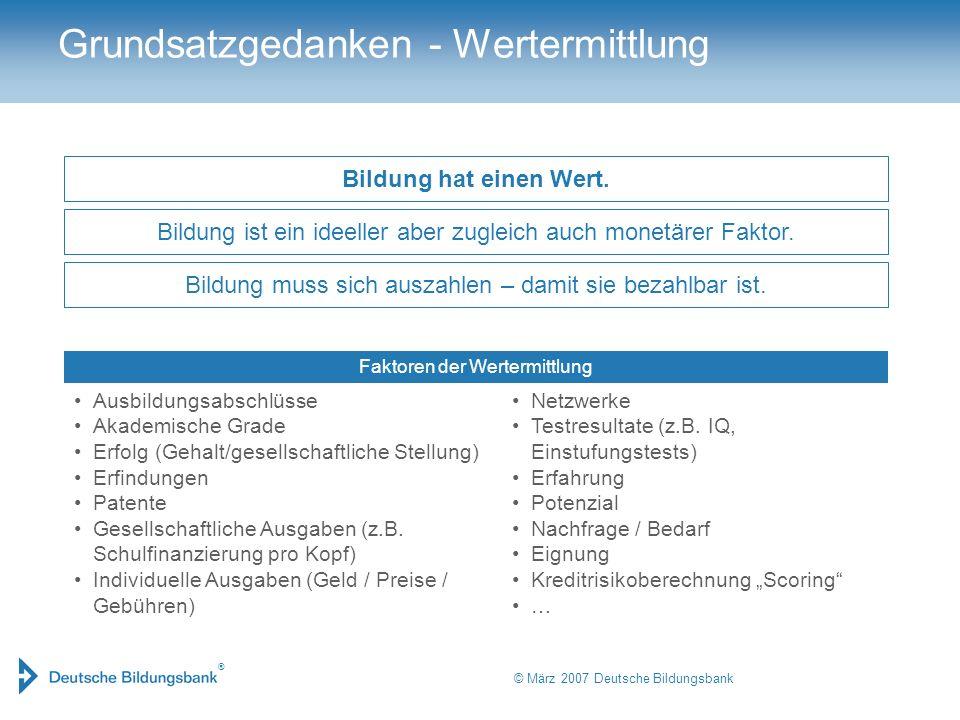 ® © März 2007 Deutsche Bildungsbank Faktoren der Wertermittlung Grundsatzgedanken - Wertermittlung Ausbildungsabschlüsse Akademische Grade Erfolg (Geh