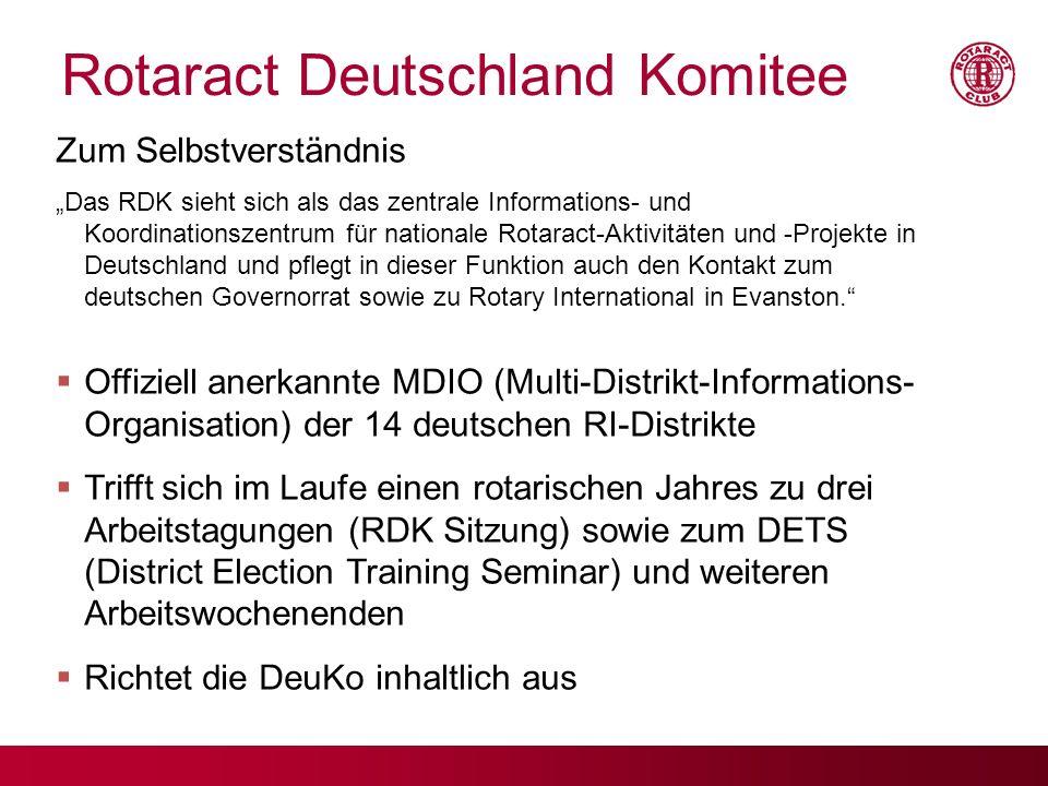 Rotaract Deutschland Komitee Zum Selbstverständnis Das RDK sieht sich als das zentrale Informations- und Koordinationszentrum für nationale Rotaract-A