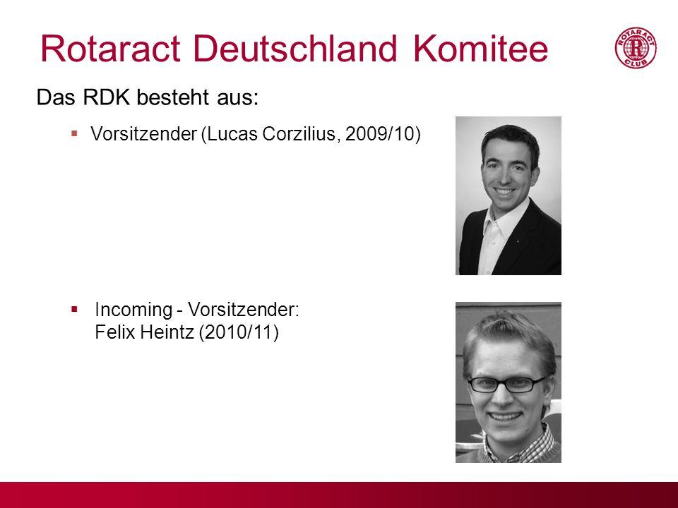Rotaract Deutschland Komitee Das RDK besteht aus: Vorsitzender (Lucas Corzilius, 2009/10) Incoming - Vorsitzender: Felix Heintz (2010/11)